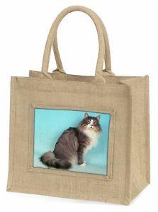 【送料無料】ノルウェージュートショッピングバッグクリスマスnorwegian forest cat large natural jute shopping bag christmas gift id, ac54bln