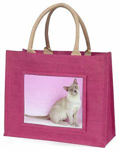【送料無料】ビルマネコピンククリスマスプレゼントac32blplilac burmese cat large pink shopping bag christmas present idea, ac32blp
