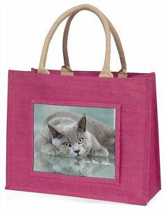 【送料無料】#;#ピンクショッピングバッグクリスマスプレゼントアイデアbritish blue cat 039;love you mum039; large pink shopping bag christmas present idea
