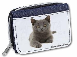 【送料無料】#;#レディースデニムクリスマスbritish blue cat 039;love you mum039; girlsladies denim purse wallet christmas gift i