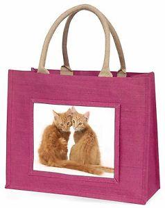 【送料無料】ショウガピンクショッピングバッグクリスマスプレゼントアイデアtwo ginger kittens large pink shopping bag christmas present idea, ac203blp