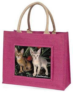 【送料無料】#サービスピンクジュートショッピングバッグabyssinian kittens 039;soulmates039; large pink jute shopping bag animal gi, soul5blp