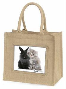 【送料無料】ウサギネコハッピーイースター#ジュートショッピングバッグrabbit with kitten 039;happy easter039; large natural jute shopping bag c, ac161eabln