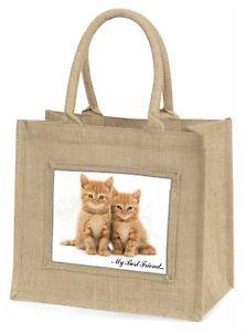 【送料無料】##ジュートショッピングバッグクリスマスkittens 039;my best friend039; large natural jute shopping bag christmas gi, ac149bln