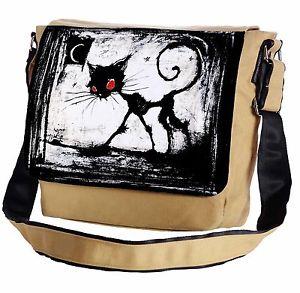 【送料無料】ゴシックメッセンジャーフラップショルダーバッグa gothic cat red eyes messenger crossbody shoulder flap bag
