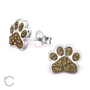 【送料無料】猫 キャット ネコ イヤリング ピアススターリングシルバークリスタルスタッドイヤリングブラウンsterling silver 925 dog cat paw sparkly crystal stud earrings brown