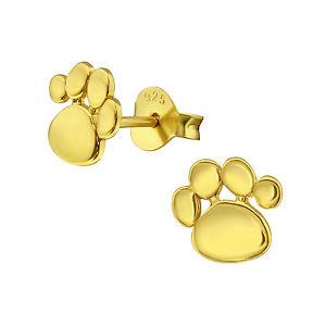 【送料無料】猫 キャット ネコ イヤリング ピアススターリングシルバープリントゴールドスタッドイヤリングsterling silver 925 dog cat paw print gold stud earrings
