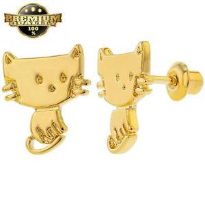 【送料無料】猫 キャット ネコ イヤリング ピアスゴールドメッキキッズスクリューバックイヤリング