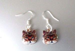 【送料無料】猫 キャット ネコ イヤリング ピアスtabby cat pendant enamel earrings 925hookstabby cat pendant enamel earrings 925 silver hooks gift pouch