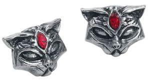 【送料無料】猫 キャット ネコ イヤリング ピアスゴシックスタッドボルトシルバーセットalchemy gothic sacred cat studs earpin set silvercoloured