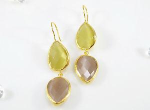 【送料無料】猫 キャット ネコ イヤリング ピアスストーンイヤリングハンドメイドottomangems semi precious gem stone earrings 21ct gold plated cat eye handmade