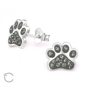 【送料無料】猫 キャット ネコ イヤリング ピアススターリング925sparklyピアスイヤリングsterling silver 925 dog cat paw print sparkly crystal stud earrings grey