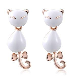 【送料無料】猫 キャット ネコ イヤリング ピアスレディースローズゴールドプラチナイヤリングファッションfjyouria ladies 18ct rose goldplatinum plated cat oil drip earrings fashion ear