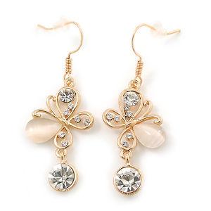 【送料無料】猫 キャット ネコ イヤリング ピアスクリスタルクリアメッキストーンバタフライドロップイヤリングclear crystal, milky white cat eye stone butterfly drop earrings in gold plating