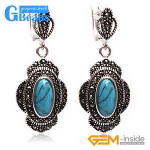 【送料無料】猫 キャット ネコ イヤリング ピアスビーズチベットシルバーイヤリング#ファッションジュエリー 11x26mm oval beads tibetan silver dangle earring lady039;s fashion jewelry