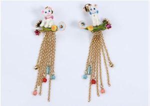 【送料無料】猫 キャット ネコ イヤリング ピアスレチェーンスタッドイヤリングles nereides cat chain stud earring