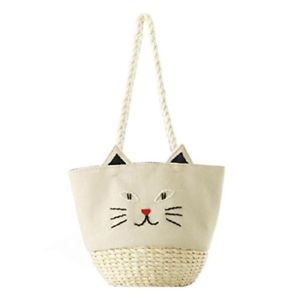 【送料無料】ネコ 猫 ネックレス キャンバスストロービーチトートハンドバッグトラベルキャンバスflada cat canvas amp; straw summer beach tote women shoulder handbags travel canvas