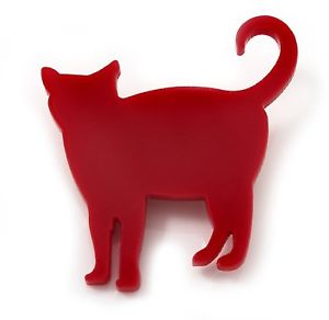 【送料無料】ネコ 猫 ネックレス アクリルブローチred acrylic cat brooch