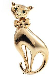 【送料無料】ネコ 猫 ネックレス ゴールドトーンブローチpolished gold tone sitting cat brooch