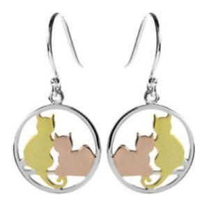 【送料無料】ネコ 猫 ネックレス スターリングシルバーローズゴールドイヤリング925 sterling silver with yellow amp; rose gold vermeil cat earrings bnib