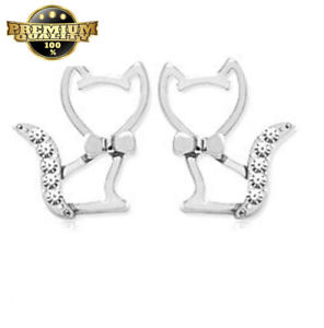 【送料無料】ネコ 猫 ネックレス イヤリングfindout silver absolutely love cats earrings f549