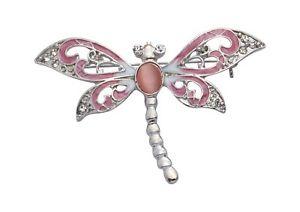 【送料無料】ネコ 猫 ネックレス ジョディローズピンクトンボブローチjodie rose pink dragonfly brooch with crystals and cats eye
