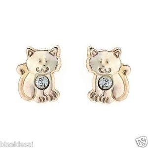 【送料無料】ネコ 猫 ネックレス キッズガールズゴールドクリスタルスタッドイヤリングボックスkids girls 9ct gold tiny small kitten cat crystal studs earrings b039;day gift box