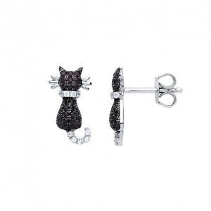 【送料無料】ネコ 猫 ネックレス スターリングシルバーブラックアンプスタッドイヤリング