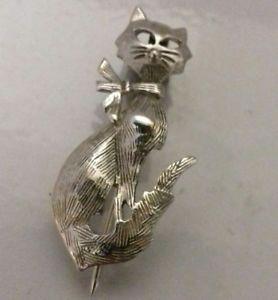 【送料無料】ネコ 猫 ネックレス ブランドスターリングシルバーブローチスカーフbrand sterling silver 925 pussy cat brooch scarf 2g