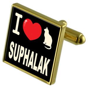 【送料無料】ネコ 猫 ネックレス カフリンクスi love my cat goldtone cufflinks suphalak