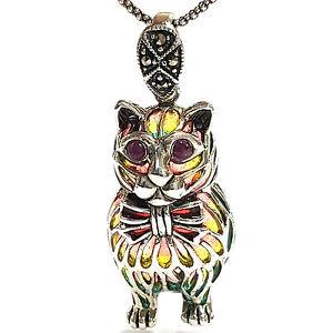 【送料無料】ネコ 猫 ネックレス スターリングシルバーアールヌーボーエナメルネックレスペンダント