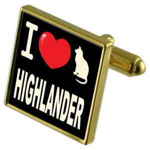 【送料無料】ネコ 猫 ネックレス カフスボタンハイランダーi love my cat goldtone cufflinks highlander