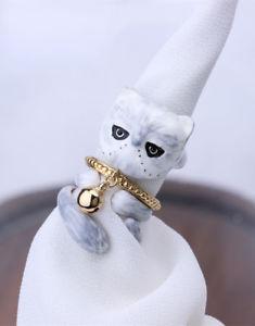 【送料無料】ネコ 猫 ネックレス #ペルシャオープンリングエナメルスタッカブル