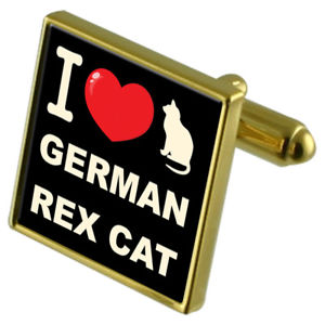 【送料無料】ネコ 猫 ネックレス カフリンクスドイツレックスi love my cat goldtone cufflinks german rex cat