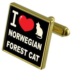 【送料無料】ネコ 猫 ネックレス カフスボタンノルウェーi love my cat goldtone cufflinks norwegian forest cat