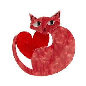 【送料無料】ネコ 猫 ネックレス リンダピンクerstwilder linda love cat pink and red htf free postage aust only
