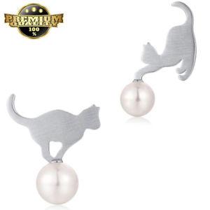 【送料無料】ネコ 猫 ネックレス イヤリングイヤリングスターリングシルバーシルバーイヤリングcat earrings,earrings women sterling silver,unusual silver earrings,girls