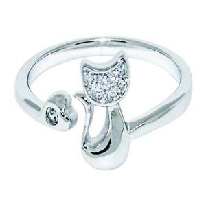 【送料無料】ネコ 猫 ネックレス レディースファッションジュエリースターリングシルバーリングギwomens fashion jewelry 925 sterling silver adjustable ring cute cat ki