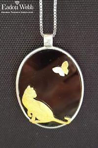 【送料無料】ネコ 猫 ネックレス ハンドメイドペンダントチェーンスターリングシルバー hand made beautiful cat and butterfly pendant with chain sterling silver 925