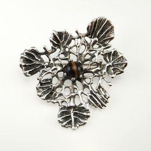 【送料無料】ネコ 猫 ネックレス キャッツアイカボションスタジオブローチピンcats eye tigers eye cabochon artisan studio modernist biomorphic brooch pin 925