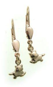 【送料無料】ネコ 猫 ネックレス リアルゴールドイヤリングイヤリングイエローゴールドchildren dangle earrings cat in real gold 585 kids earrings cats yellow gold