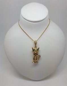 【送料無料】ネコ 猫 ネックレス スタンプイエローゴールドペンダントmiran 080157 9k stamp 375 yellow gold cat cz pendant rrp475