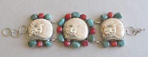 【送料無料】ネコ 猫 ネックレス ブレスレットスターリングターコイズコーラル#great cat lover's bracelet 3 carved bone cats; sterling; turquoise; coral; 78034;