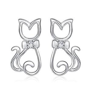 【送料無料】ネコ 猫 ネックレス カラーシルエット925イアリングネコear studs earrings cat kitten with collar bow silhouette 925 silver