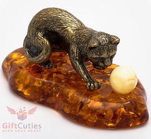 【送料無料】猫 ネコ キャット 置物 ボールironworksolid brass amber figurine of cat with yarn ball ironwork