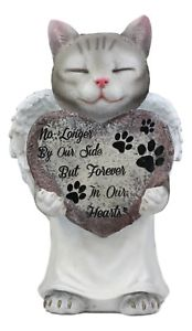 【送料無料】猫 ネコ キャット 置物 ##ローブペットメモリアルグレー034;forever in our heart034; angel grey cat in white tunic robe pet memorial figurine
