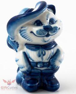 【送料無料】猫 ネコ キャット 置物 ブーツpuss in boots cat collectible gzhel porcelain figurine handpainted