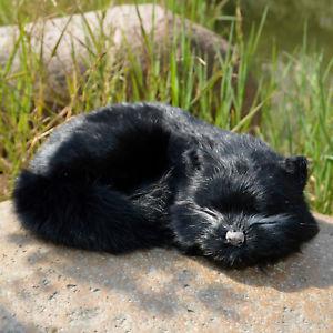 【送料無料】猫 ネコ キャット 置物 リアルビロードウサギrealistic cat lifelike plush rabbit fur furry animal sleeping synthetic figurine