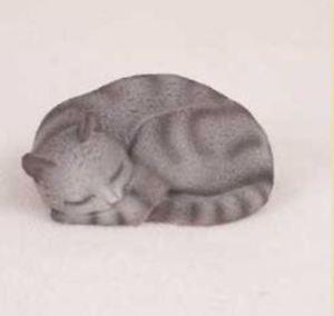 【送料無料】猫 ネコ キャット 置物 pleasant dreams silver tabby cat figurine statue hand painted resin gift