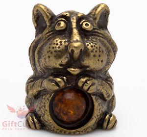 【送料無料】猫 ネコ キャット 置物 ironworksolid brass amber figurine of elegant cat hands on belly ironwork